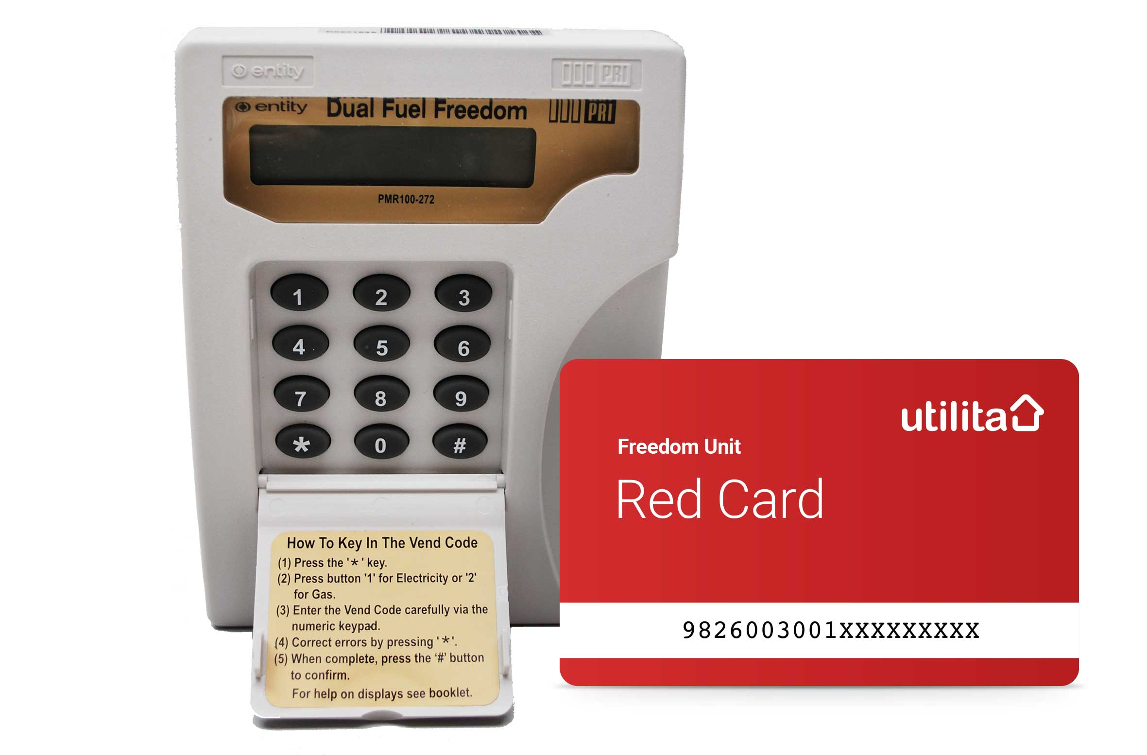 Gas and electric meter with Utilita red prepayment card.